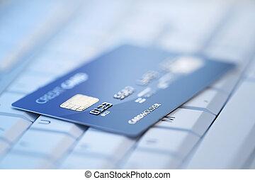 cartão crédito, ligado, teclado computador