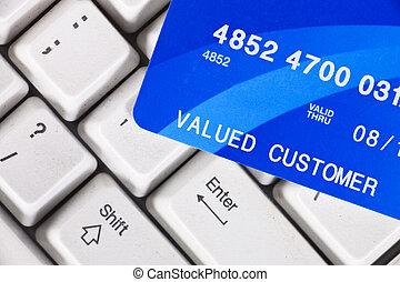 cartão crédito, ligado, teclado