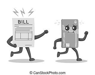 cartão crédito, personagem, escapando, de, conta