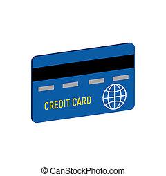 cartão crédito, símbolo., apartamento, isometric, ícone, ou, logo., 3d, estilo, pictograma, para, projeto teia, ui, móvel, app, infographic.