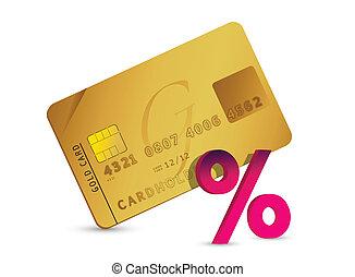 cartão, crédito, sinal cento