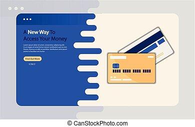 cartão, crédito, vetorial, anunciando, ilustração