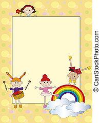 cartão, crianças