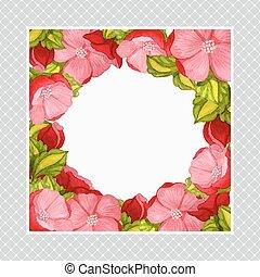 cartão cumprimento, com, aquarela, quadro, de, cor-de-rosa, peony