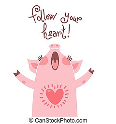 cartão cumprimento, com, cute, piglet., doce, porca, diz, seguir, seu, heart.