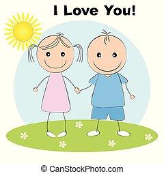 cartão cumprimento, com, encantador, par, jovem, cute, menina, e, menino, segurando, hands.