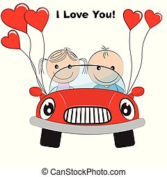 cartão cumprimento, com, encantador, par, jovem, cute, menina, e, menino, viajando, por, vermelho, carro.