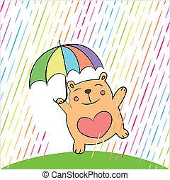 cartão cumprimento, com, engraçado, urso