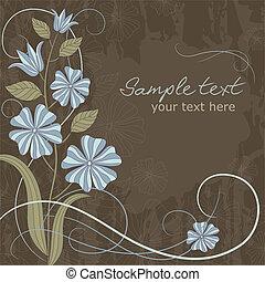 cartão cumprimento, com, flores azuis