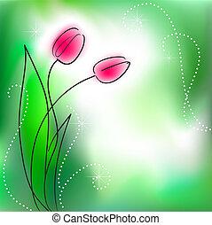 cartão cumprimento, com, grupo, flor