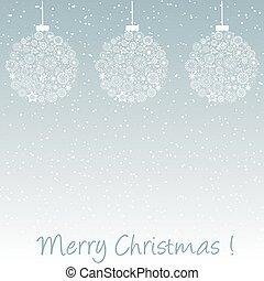 cartão cumprimento, com, natal, bolas
