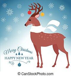 cartão cumprimento, com, natal, deer., vetorial, ilustração