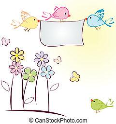 cartão cumprimento, com, pássaros, flores, e, borboletas