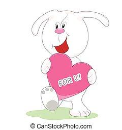 cartão cumprimento, cute, filhote cachorro, com, um, coração