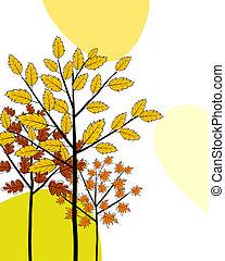 cartão cumprimento, doodle, outono
