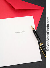 cartão cumprimento, e, vermelho, envelope