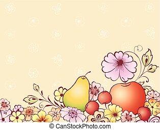 cartão cumprimento, flores, fruta, decorativo, desenhado