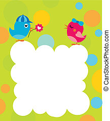 cartão cumprimento, modelo, com, dois pássaros