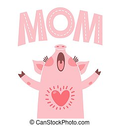 cartão cumprimento, para, mãe, com, cute, piglet., doce, porca, felicita, mãe