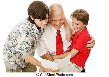 cartão cumprimento, para, pai
