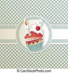 cartão, cupcake
