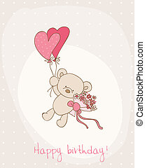 cartão, cute, aniversário, saudação, urso