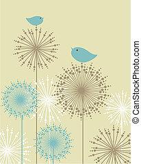 cartão, cute, pássaros, saudações, balanço