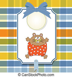 cartão, cute, pequeno, saudação, rato