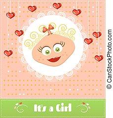 cartão, cute, romanticos, cacheados, texto, chuveiro, sorrindo, loura, desenho, retro, corações, penduradas, menina bebê, menina, seu, cabelo vermelho
