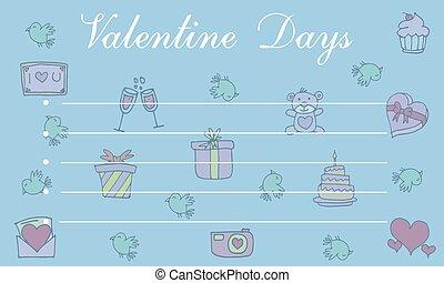 cartão, cute, saudação, cobrança, valentine