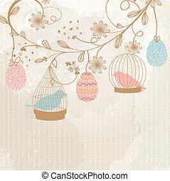 cartão, cute, vindima, dois, retro, pássaros, gaiolas