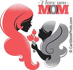 cartão, de, feliz, mãe, day., bonito, mãe, silueta, com,...