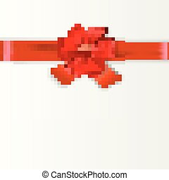 cartão, desenho, vermelho, arco presente
