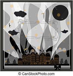 cartão, -, dia das bruxas, fundo, com, espaço, para, texto