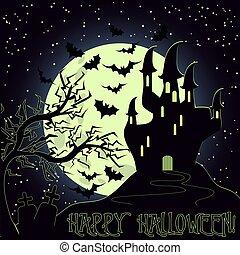 cartão, dia das bruxas, ilustração, vetorial, convite, feliz