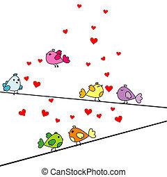 cartão dia valentine, com, caricatura, pássaros, e, corações
