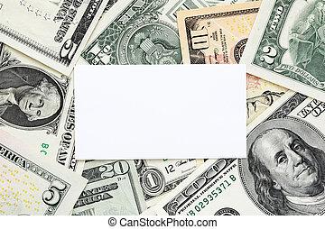cartão, dinheiro, fundo, negócio, em branco