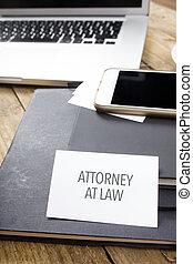 cartão, dizendo, advogado, em, lei, ligado, almofada nota