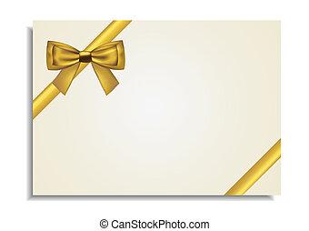 cartão, dourado, ao redor, arco presente
