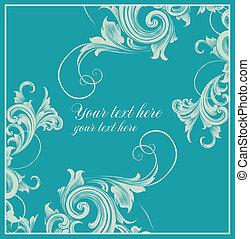 cartão, em, estilo barroco
