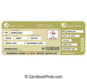 cartão embarque, classe, primeiro