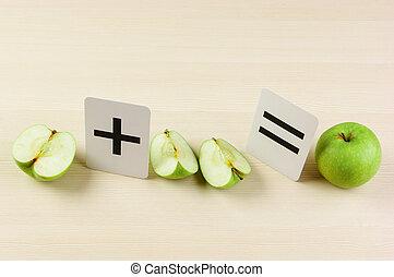 cartão, escola, problemas, maçã, matemática