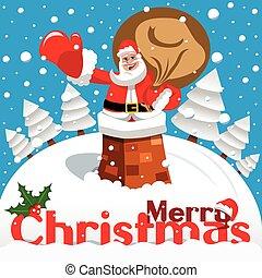 cartão, feliz, nevado, claus, paisagem, santa, natal, chaminé