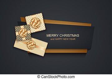 cartão, feliz, vetorial, novo, ou, ano, feriado christmas, 2018, inverno, convite, modernos