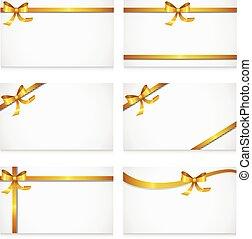 cartão, fitas, ouro, arco presente
