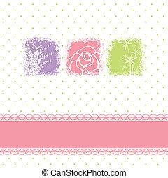 cartão, flores, saudação, coloridos