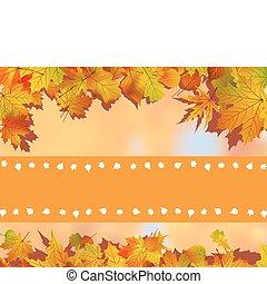 cartão, folhas, agradecer, fundo, tu