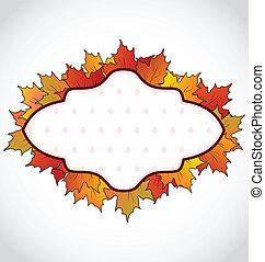 cartão, folhas, outonal, coloridos, maple