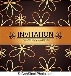 cartão, fundo, dourado, convite, arte, marrom