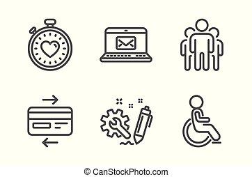 cartão, grupo, set., ícones, e-mail, cronômetro, incapacitado, crédito, engenharia, vetorial, batida coração, signs.